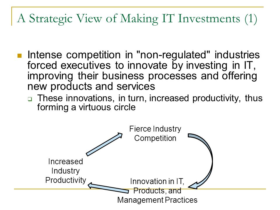 A Strategic View of Making IT Investments (1) Intense competition in non-regulated industries forced executives to innovate by investing in IT, improving their business processes and offering new products and services  These innovations, in turn, increased productivity, thus forming a virtuous circle Innovation in IT, Products, and Management Practices Increased Industry Productivity Fierce Industry Competition