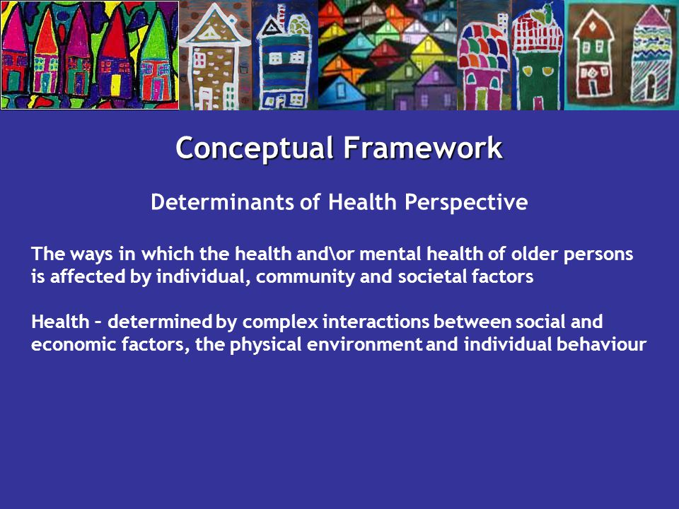 Conceptual Framework Determinants of Health Perspective The ways in which the health and\or mental health of older persons is affected by individual,