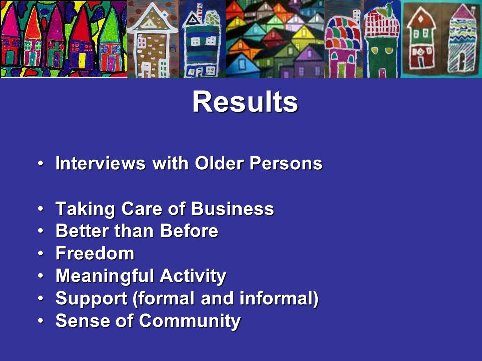 Results Interviews with Older PersonsInterviews with Older Persons Taking Care of BusinessTaking Care of Business Better than BeforeBetter than Before FreedomFreedom Meaningful ActivityMeaningful Activity Support (formal and informal)Support (formal and informal) Sense of CommunitySense of Community