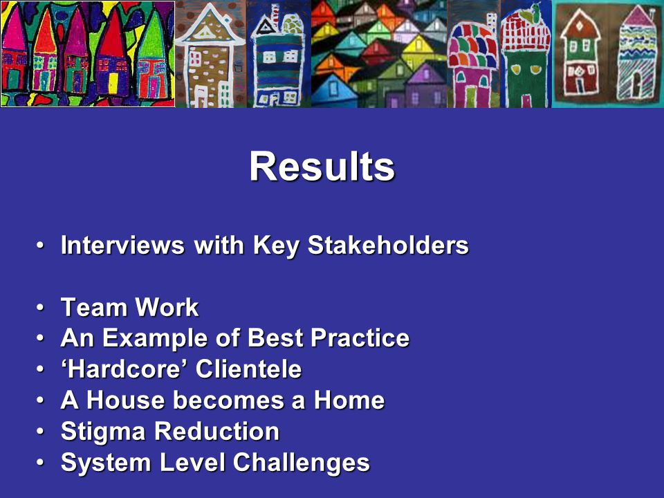 Results Interviews with Key StakeholdersInterviews with Key Stakeholders Team WorkTeam Work An Example of Best PracticeAn Example of Best Practice 'Ha