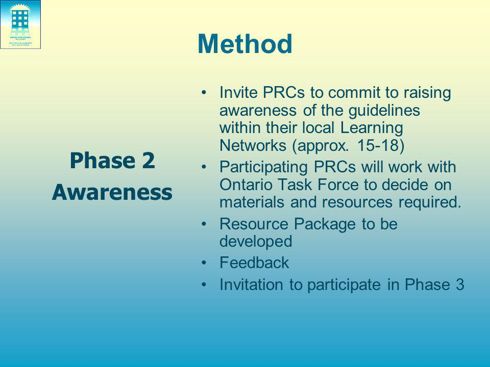 Method Phase 2 Awareness Invite PRCs to commit to raising awareness of the guidelines within their local Learning Networks (approx. 15-18) Participati