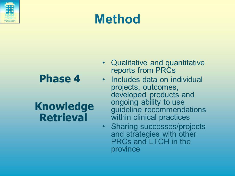 Method Phase 4 Knowledge Retrieval Qualitative and quantitative reports from PRCs Includes data on individual projects, outcomes, developed products a