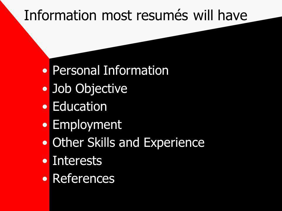 Personal Information Where you live How to contact you –e-mail –fax –telephone The Personal Information Dilemma –how much information do you want to give out about yourself