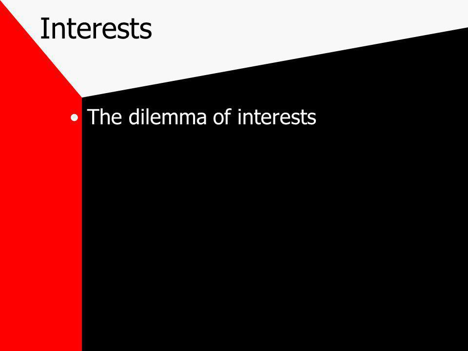 Interests The dilemma of interests