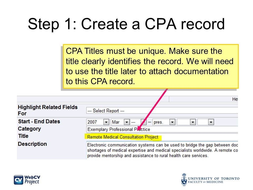Step 1: Create a CPA record CPA Titles must be unique.