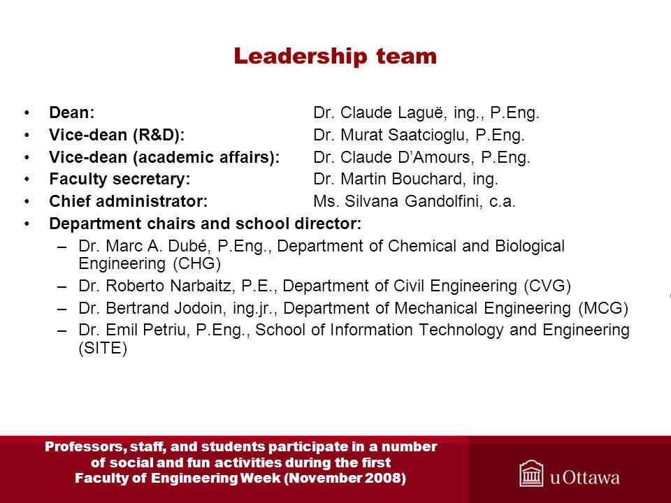 Leadership team Dean: Dr. Claude Laguë, ing., P.Eng.