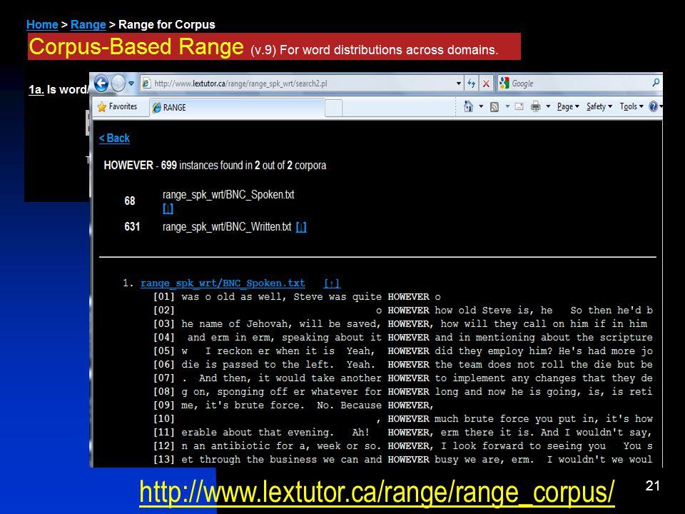 21 http://www.lextutor.ca/range/range_corpus/