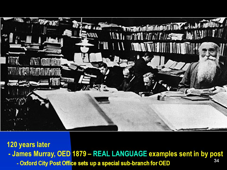 34 120 years later - James Murray, OED 1879 – REAL LANGUAGE examples sent in by post - Oxford City Post Office sets up a special sub-branch for OED