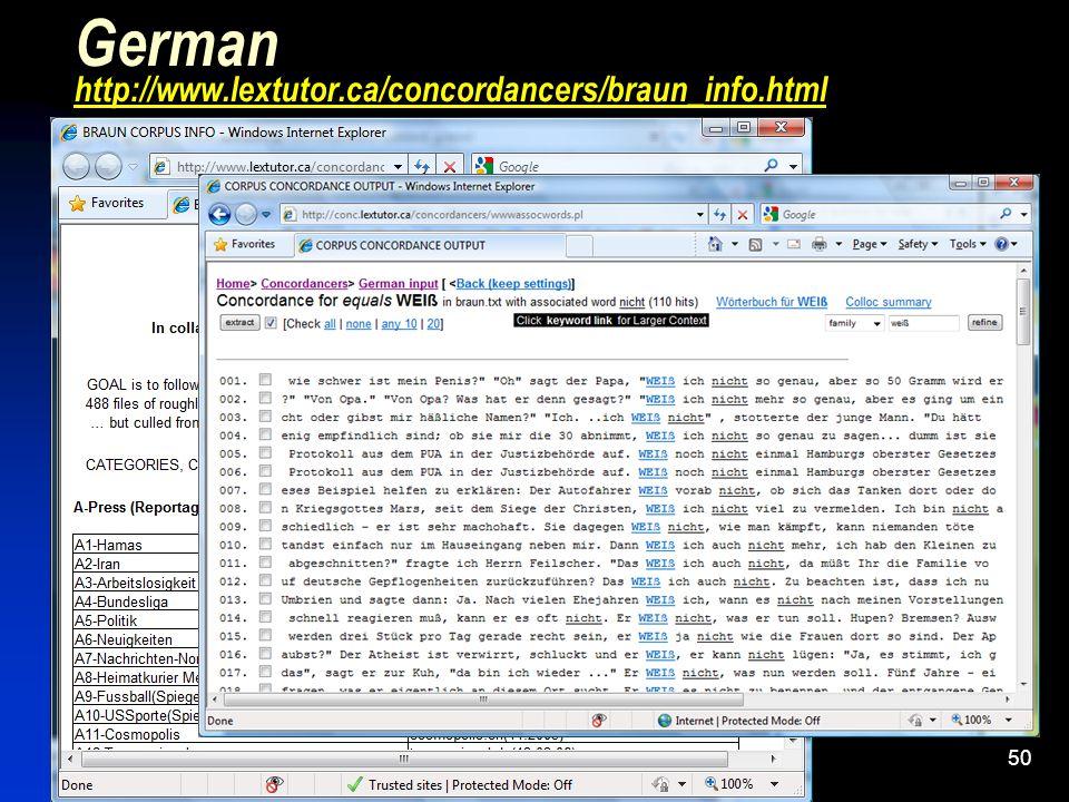 50 German http://www.lextutor.ca/concordancers/braun_info.html http://www.lextutor.ca/concordancers/braun_info.html