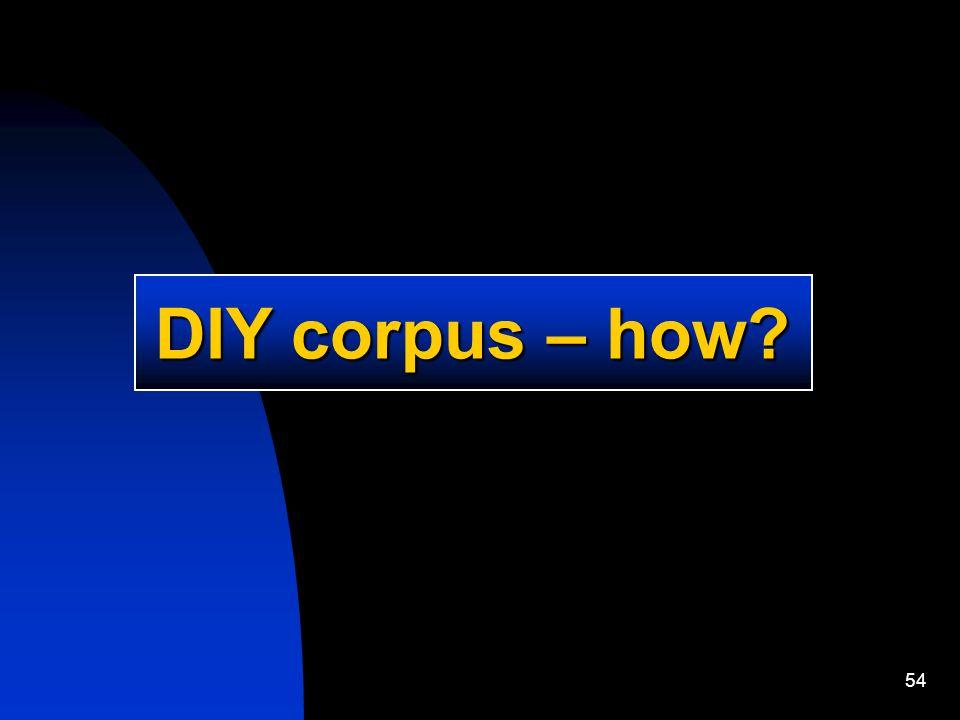 54 DIY corpus – how