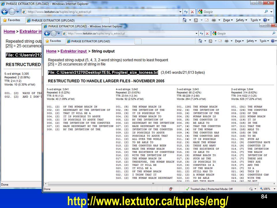 84 http://www.lextutor.ca/tuples/eng/