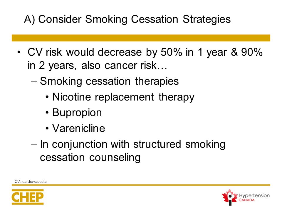 A) Consider Smoking Cessation Strategies CV risk would decrease by 50% in 1 year & 90% in 2 years, also cancer risk… –Smoking cessation therapies Nicotine replacement therapy Bupropion Varenicline –In conjunction with structured smoking cessation counseling CV: cardiovascular