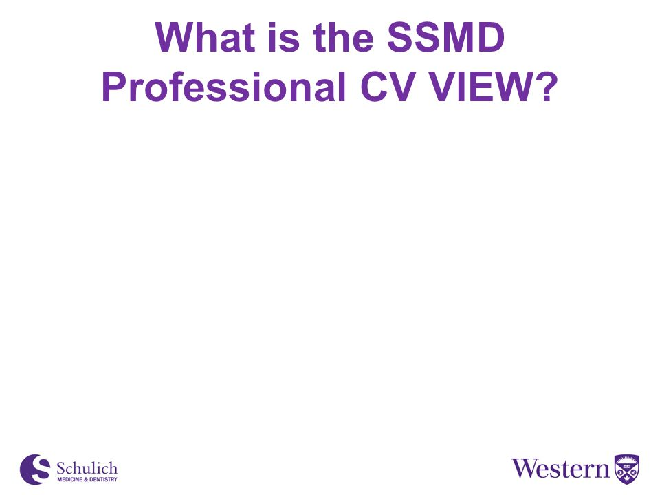 What is the SSMD Professional CV VIEW