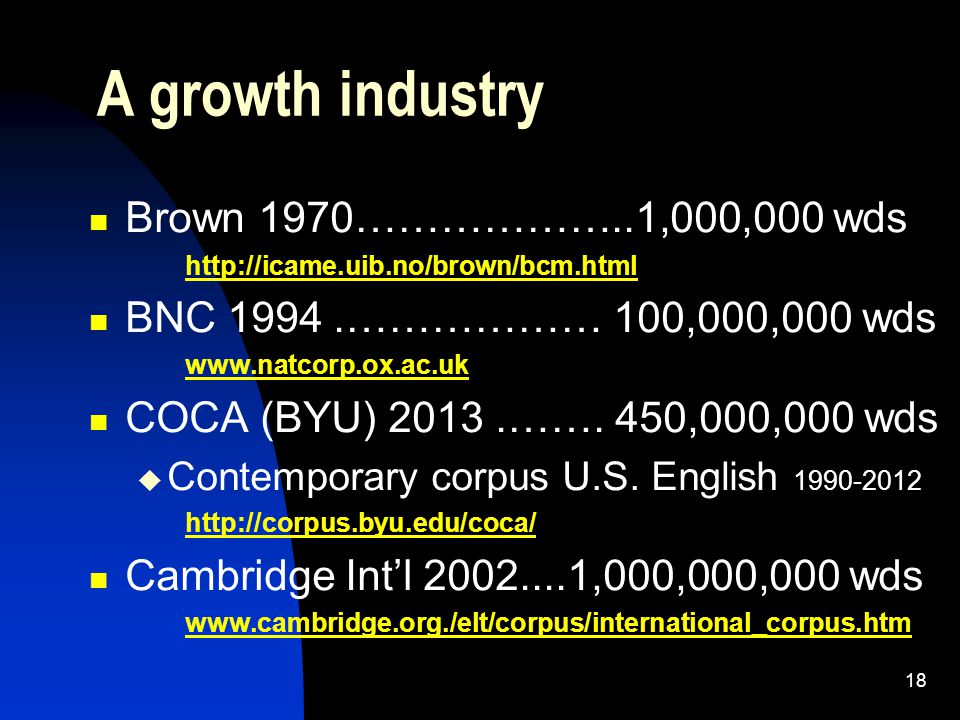18 A growth industry Brown 1970………………..1,000,000 wds http://icame.uib.no/brown/bcm.html BNC 1994.……………… 100,000,000 wds www.natcorp.ox.ac.uk COCA (BYU) 2013.…….