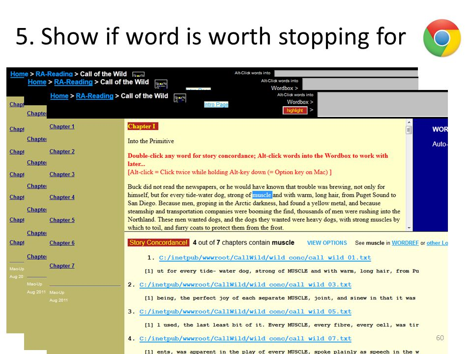 5. Show if word is worth stopping for 60