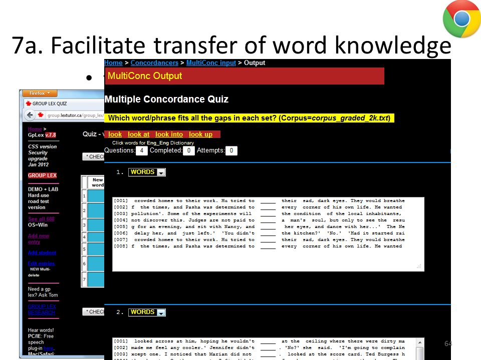 7a. Facilitate transfer of word knowledge to novel context 64