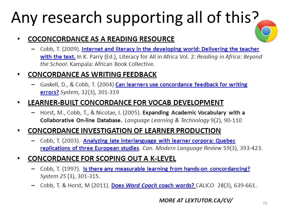 Any research supporting all of this. 70 COCONCORDANCE AS A READING RESOURCE – Cobb, T.