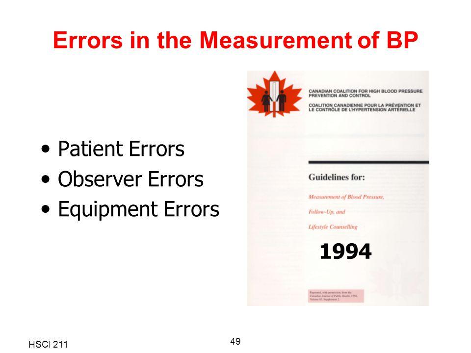 HSCI 211 49 Errors in the Measurement of BP Patient Errors Observer Errors Equipment Errors 1994