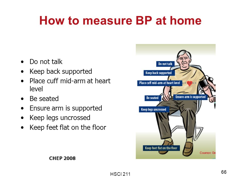 HSCI 211 66 How to measure BP at home Do not talk Keep back supported Place cuff mid-arm at heart level Be seated Ensure arm is supported Keep legs un