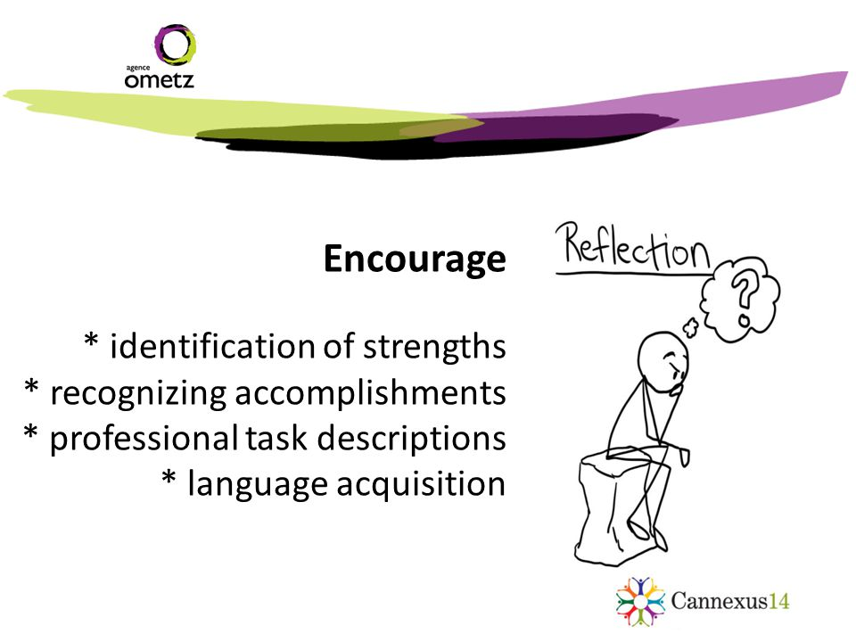 Encourage * identification of strengths * recognizing accomplishments * professional task descriptions * language acquisition