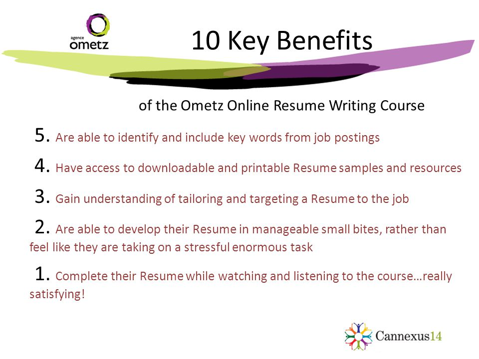 10 Key Benefits of the Ometz Online Resume Writing Course 5.