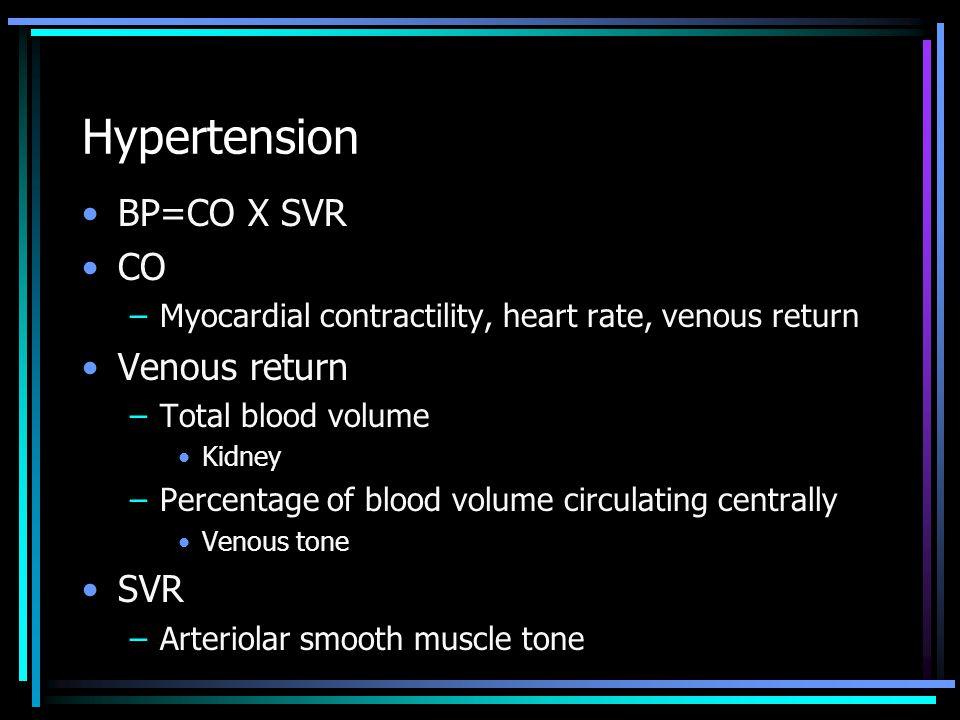 Hypertension Kidney –Production of renin –Regulation of blood volume Sympathetic nervous system –Regulation of cardiac output and peripheral resistance Renin-angiotensin-aldosterone –Vasoconstriction (angiotensin II) –Increased cardiac output secondary to sodium retention (aldosterone)