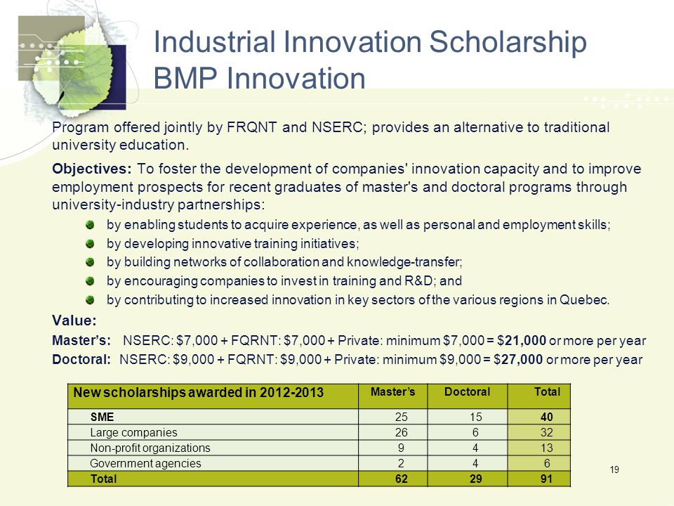 Industrial Innovation Scholarship BMP Innovation Program offered jointly by FRQNT and NSERC; provides an alternative to traditional university education.