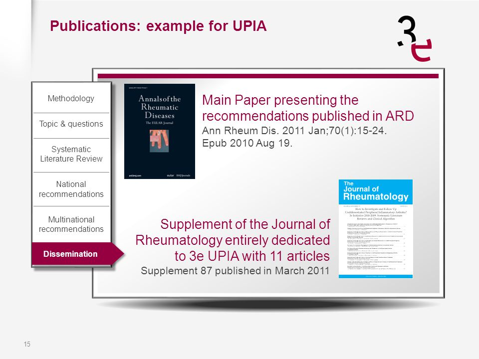15 Main Paper presenting the recommendations published in ARD Ann Rheum Dis. 2011 Jan;70(1):15-24. Epub 2010 Aug 19. Publications: example for UPIA Su
