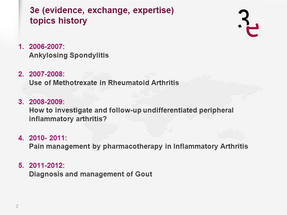 2 3e (evidence, exchange, expertise) topics history 1.2006-2007: Ankylosing Spondylitis 2.2007-2008: Use of Methotrexate in Rheumatoid Arthritis 3.200