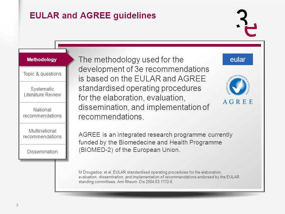3 AGREE is an integrated research programme currently funded by the Biomedecine and Health Programme (BIOMED-2) of the European Union. M Dougados, et