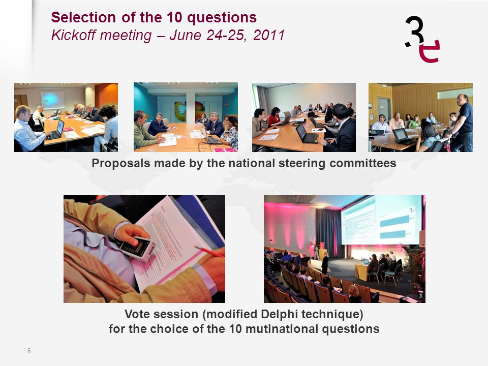 6 Selection of the 10 questions Kickoff meeting – June 24-25, 2011 Proposals made by the national steering committees Vote session (modified Delphi te