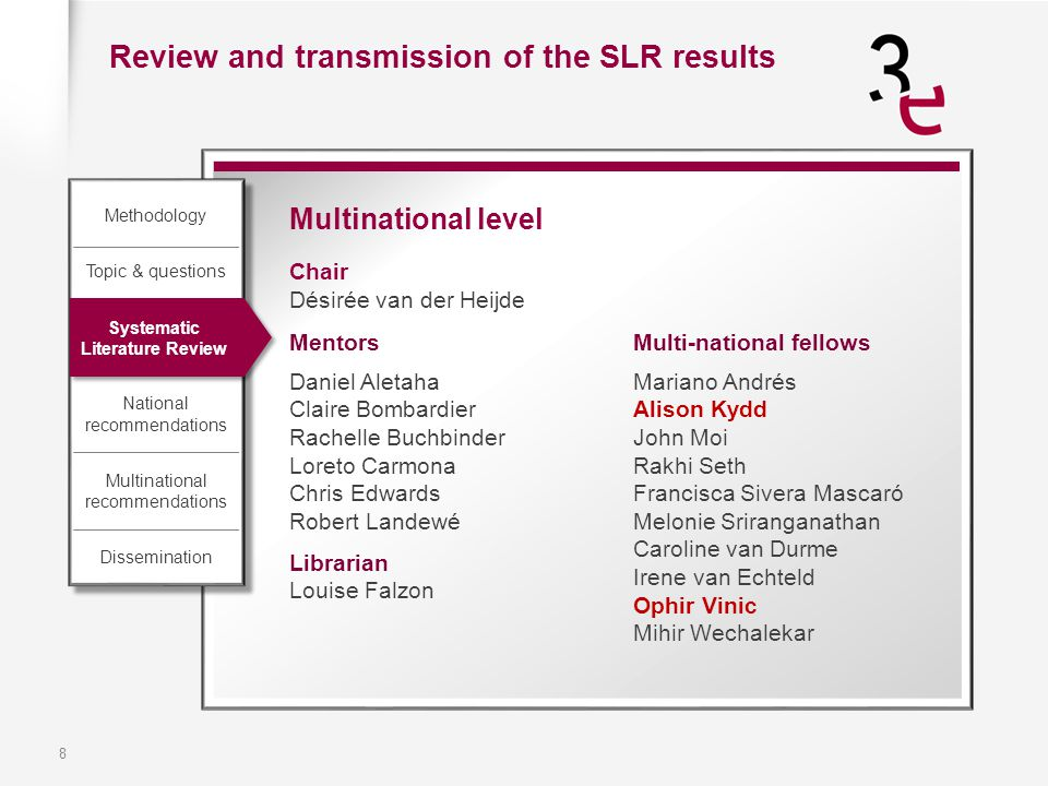 8 Multinational level Chair Désirée van der Heijde Review and transmission of the SLR results Methodology Topic & questions Systematic Literature Revi