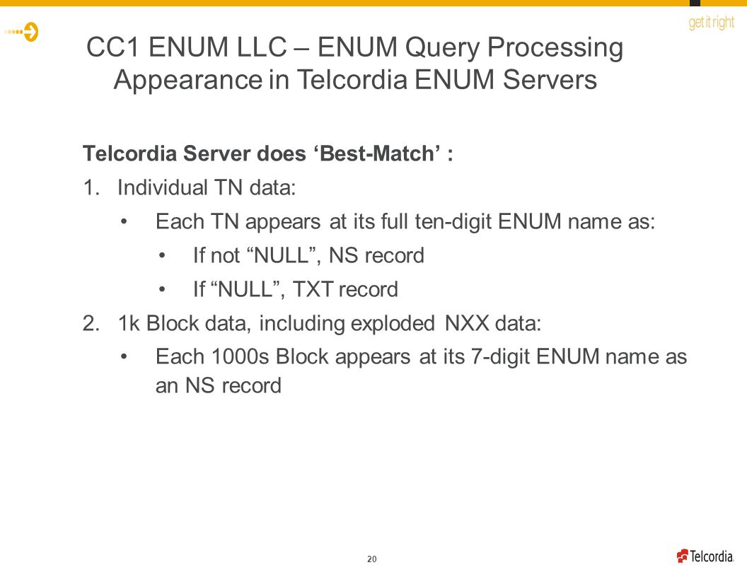 20 CC1 ENUM LLC – ENUM Query Processing Appearance in Telcordia ENUM Servers Telcordia Server does 'Best-Match' : 1.Individual TN data: Each TN appears at its full ten-digit ENUM name as: If not NULL , NS record If NULL , TXT record 2.1k Block data, including exploded NXX data: Each 1000s Block appears at its 7-digit ENUM name as an NS record