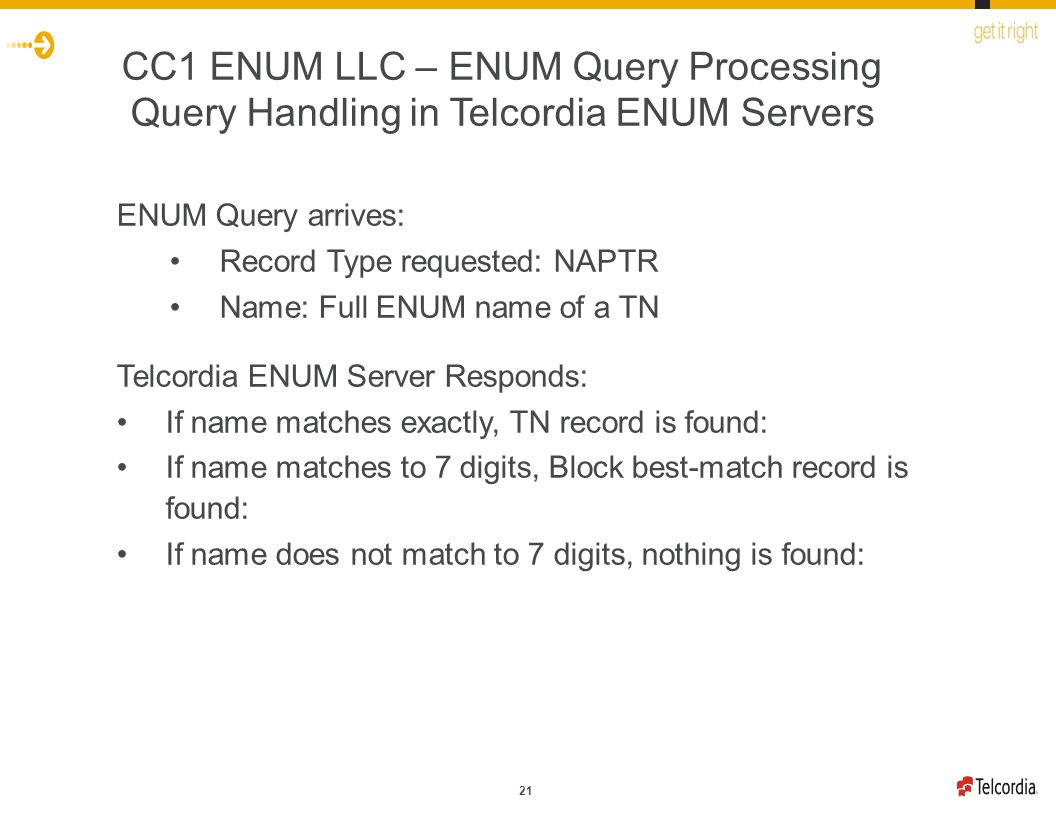 21 CC1 ENUM LLC – ENUM Query Processing Query Handling in Telcordia ENUM Servers ENUM Query arrives: Record Type requested: NAPTR Name: Full ENUM name of a TN Telcordia ENUM Server Responds: If name matches exactly, TN record is found: If name matches to 7 digits, Block best-match record is found: If name does not match to 7 digits, nothing is found: