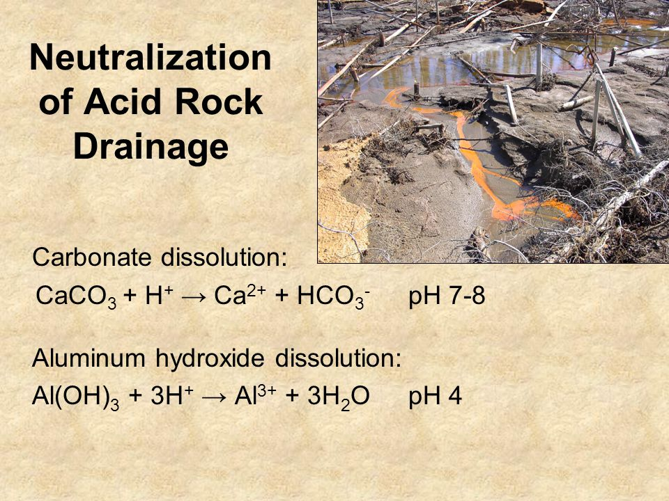 Neutralization of Acid Rock Drainage Carbonate dissolution: CaCO 3 + H + → Ca 2+ + HCO 3 - pH 7-8 Aluminum hydroxide dissolution: Al(OH) 3 + 3H + → Al 3+ + 3H 2 OpH 4
