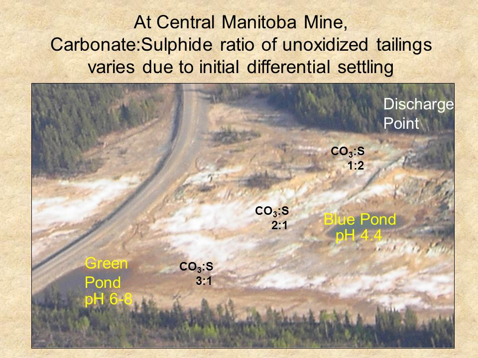 At Central Manitoba Mine, Carbonate:Sulphide ratio of unoxidized tailings varies due to initial differential settling pH 4.4 pH 6-8 Green Pond Blue Pond CO 3 :S 1:2 CO 3 :S 2:1 CO 3 :S 3:1 Discharge Point