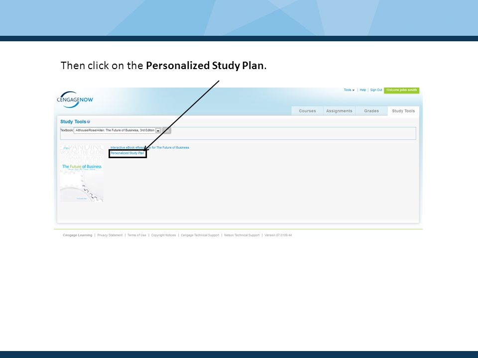 Then click on the Personalized Study Plan.
