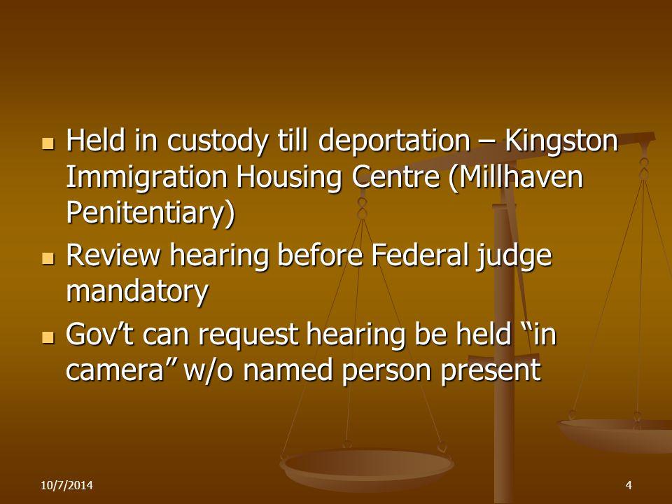 10/7/20144 Held in custody till deportation – Kingston Immigration Housing Centre (Millhaven Penitentiary) Held in custody till deportation – Kingston