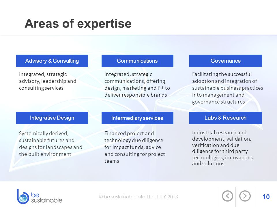 10 Areas of expertise © be sustainable pte Ltd. JULY 2013 Integrated, strategic advisory, leadership and consulting services Advisory & ConsultingComm