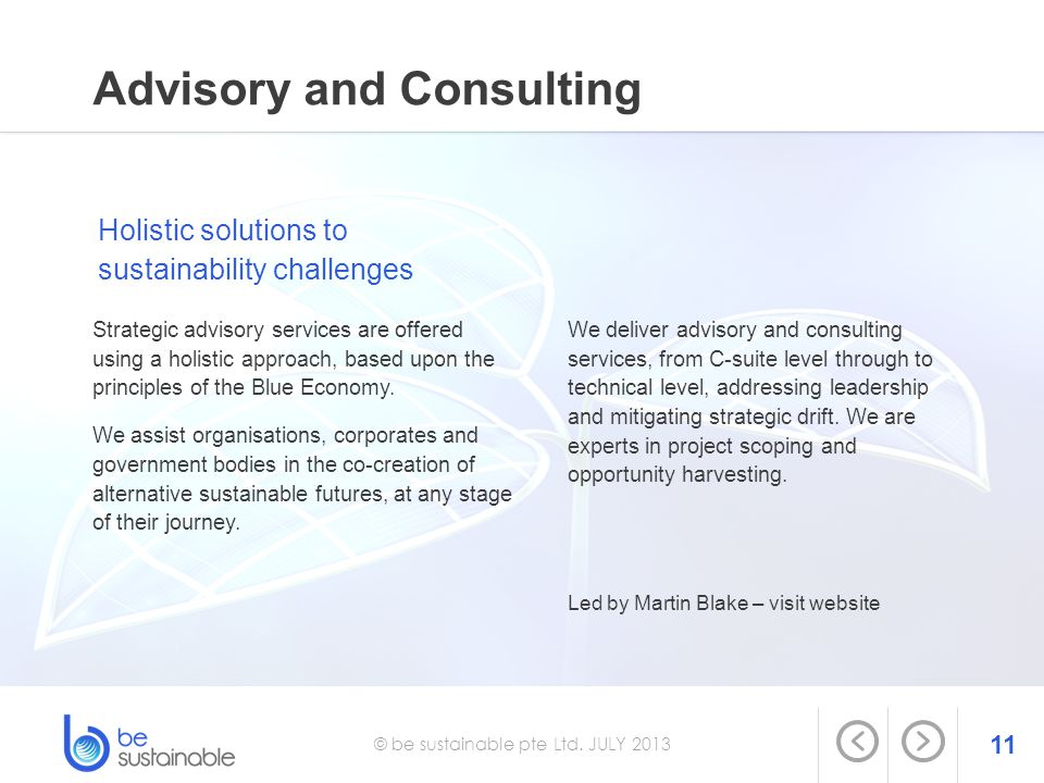 11 © be sustainable pte Ltd. JULY 2013 Advisory and Consulting Strategic advisory services are offered using a holistic approach, based upon the princ