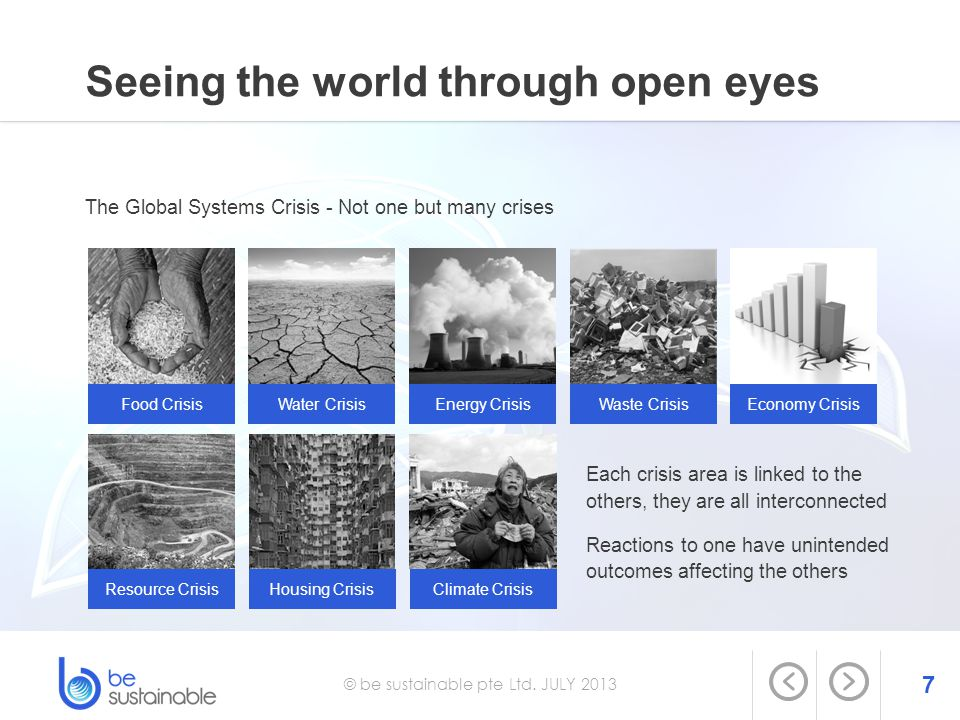 7 Seeing the world through open eyes The Global Systems Crisis - Not one but many crises Food CrisisWater CrisisEnergy CrisisWaste CrisisEconomy Crisi