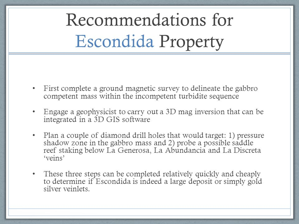 Recommendations for Escondida Property First complete a ground magnetic survey to delineate the gabbro competent mass within the incompetent turbidite
