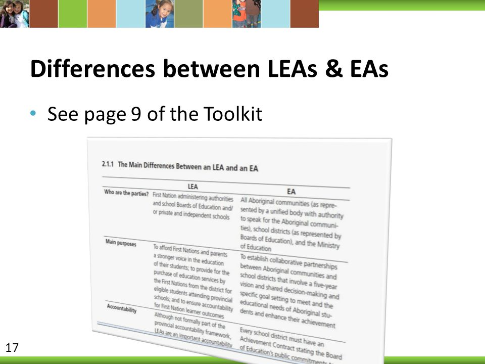 Differences between LEAs & EAs See page 9 of the Toolkit 17