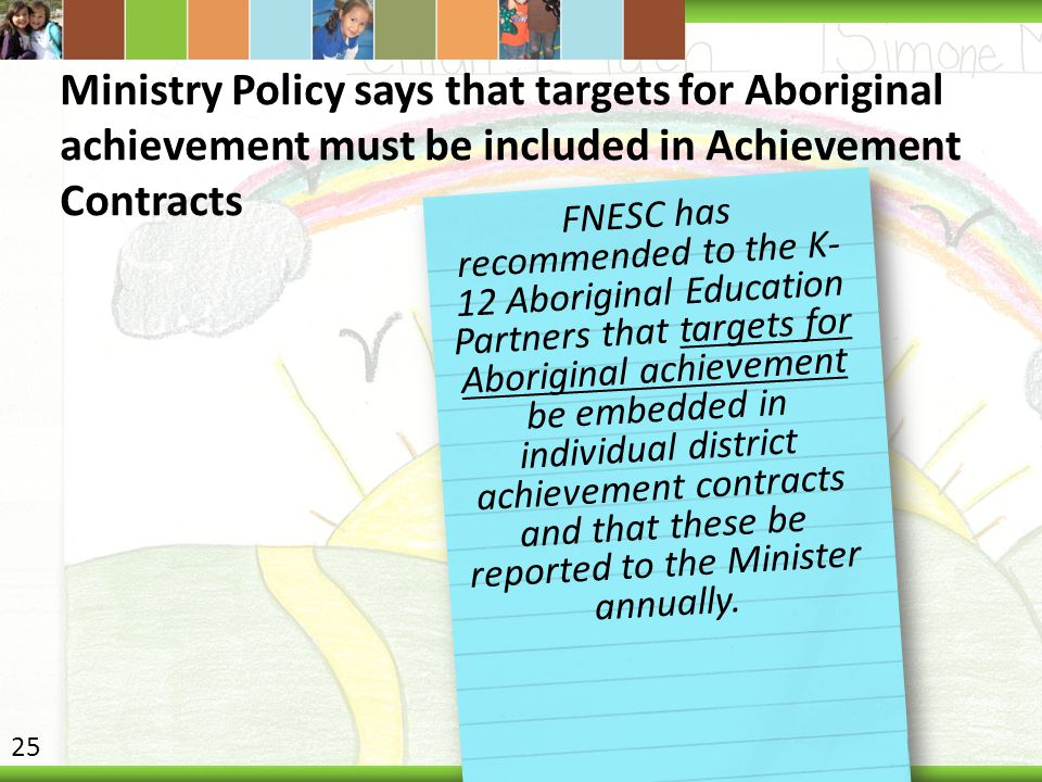 Ministry Policy says that targets for Aboriginal achievement must be included in Achievement Contracts FNESC has recommended to the K- 12 Aboriginal E