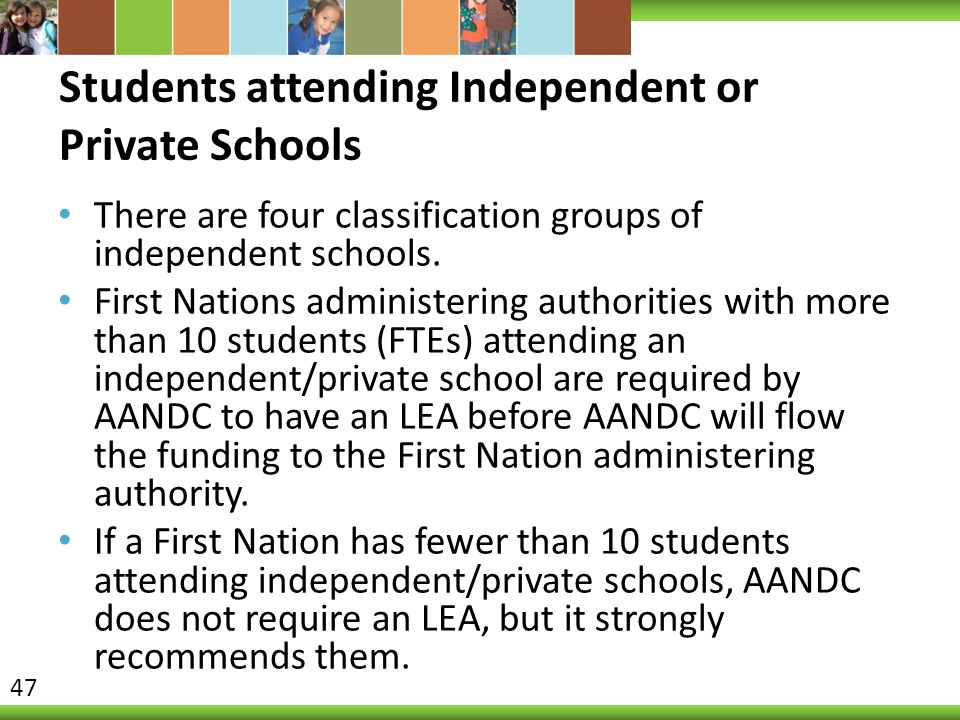 Students attending Independent or Private Schools There are four classification groups of independent schools. First Nations administering authorities