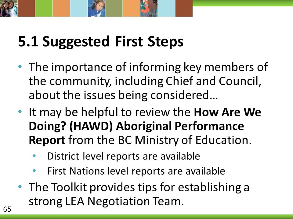 5.1 Suggested First Steps The importance of informing key members of the community, including Chief and Council, about the issues being considered… It may be helpful to review the How Are We Doing.