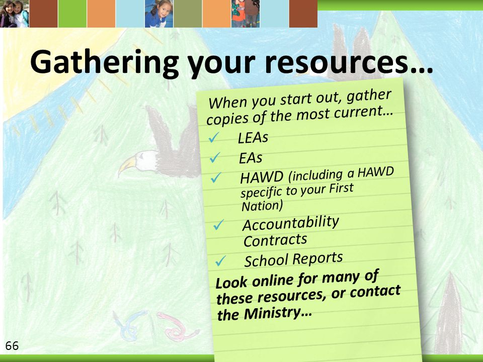 Gathering your resources… When you start out, gather copies of the most current… LEAs EAs HAWD (including a HAWD specific to your First Nation) Accountability Contracts School Reports Look online for many of these resources, or contact the Ministry… 66