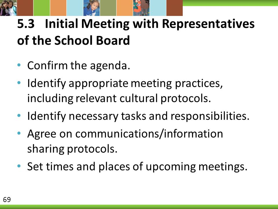 5.3Initial Meeting with Representatives of the School Board Confirm the agenda. Identify appropriate meeting practices, including relevant cultural pr