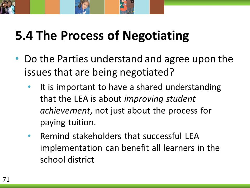 5.4 The Process of Negotiating Do the Parties understand and agree upon the issues that are being negotiated? It is important to have a shared underst
