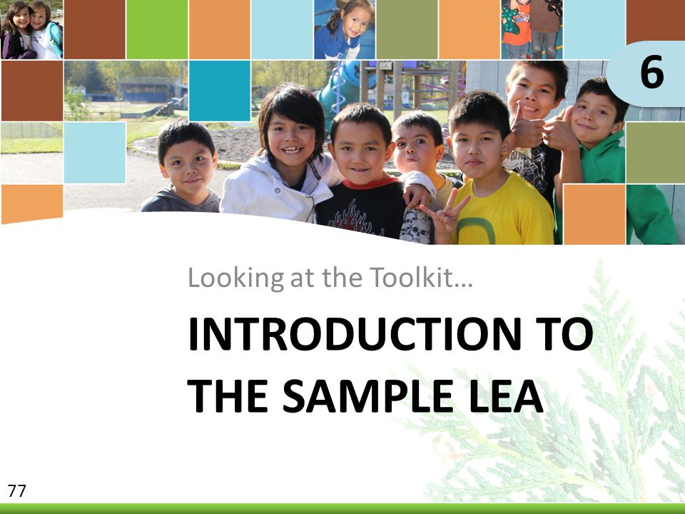 INTRODUCTION TO THE SAMPLE LEA Looking at the Toolkit… 6 77